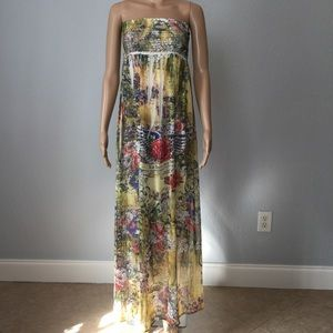 S-Twelve Strapless Maxi Dress. Yellow,  Sz M